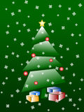 Christmas tree. Christmas greeting card with tree and presents royalty free illustration