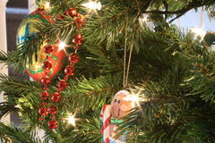 Christmas tree. Ornaments and lights adorn ol' tannenbaum Royalty Free Stock Image