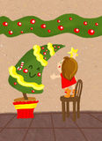 Christmas tree. Illustration about a little girl standing on a chair to put the final decoration on the top of a funny christmas tree Royalty Free Stock Photo