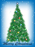 Christmas tree. Сhristmas tree on blue and white background Royalty Free Stock Photo