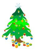 Christmas Tree. Hand drawn Christmas tree with colorful decorations Royalty Free Stock Image