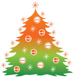 Christmas tree. Drawing of christmas tree in a white background Stock Photos