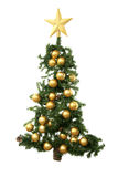 Christmas Tree. With Golden Balls and Star Stock Image