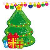 Christmas Tree. Christmas background - Christmas tree and presents. - Vector illustration for your design Stock Photo