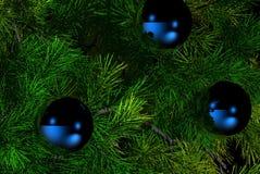 Christmas tree. Christmas decorations on pine tree Royalty Free Stock Image