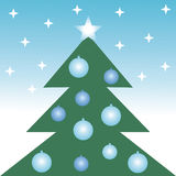 Christmas tree. Illustration of christmas tree and stars Vector Illustration