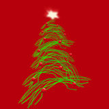 Christmas tree. An illustration of a christmas tree with red balls and green effect electric branches Stock Images