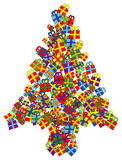 Christmas tree. Made of parcels stock illustration