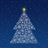 Christmas tree. Made of snowflakes vector illustration