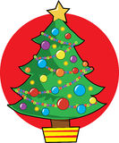 Christmas Tree. With lights and ornaments Royalty Free Stock Photo