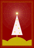 Christmas Tree. Graphic, stylized christmas tree in red and gold stock illustration