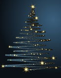 Christmas tree. Made of golden stars Royalty Free Stock Photography