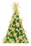 Christmas tree. WITH STARS DECORATED TREE AS CHRISTMAS DECORATION; ABSTRACTLY royalty free illustration