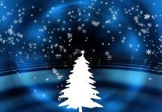 Christmas tree. And snow flakes Stock Photos