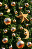 Christmas tree. With golden ornaments Stock Images