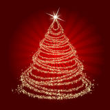 Christmas tree. On red background royalty free illustration