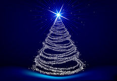 Christmas tree. A christmas tree on blue background vector illustration