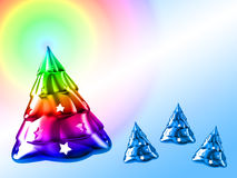 Christmas Tree. Christmass Tree and rainbow shining over Stock Image