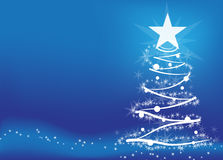 Christmas tree. Vector. Christmas tree on a blue background Royalty Free Stock Photo