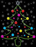 Christmas tree. With baubles and snowflakes Stock Photos