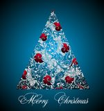 Christmas tree. Tree card new winter floral  branches christmas Royalty Free Stock Image