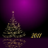 Christmas tree. On the violet background Stock Images