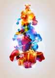 Christmas tree. With star and gifts stock illustration