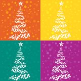 Christmas tree. Four Christmas tree cards in colors Stock Photography