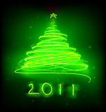 Christmas tree. Vector illustration of green Abstract Christmas tree on the black background. 2011 Royalty Free Stock Image