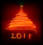 Christmas tree. Vector illustration of orange Abstract Christmas tree on the black background. 2011 Stock Photos