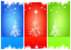 Christmas tree. Opaque Christmas Trees on Red Green Blue background Royalty Free Stock Photography