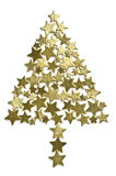 Christmas tree. Made with gold stars. Great colors Royalty Free Stock Photos