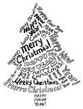 Christmas tree. Silhouette Christmas tree, consisting of text greetings Stock Illustration