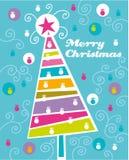 Christmas tree. Colorful christmas card with abstract tree stock illustration