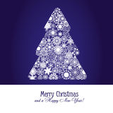 Christmas tree. Christmas greetings card with fir tree made from snowflakes on blue background,  illustration additional Stock Photos
