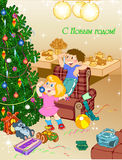 Christmas tree. In the room with the toys the children decorate the Christmas tree Royalty Free Stock Photo