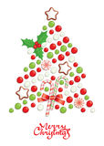 Christmas tree. Candy christmas tree with greeting inscription Stock Image