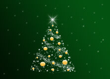 Christmas Tree. Stars Christmas Tree decorated with yellow globes, on a green background Royalty Free Stock Photo