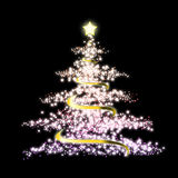 Christmas tree. Glowing Christmas tree with a lot of glittering sparks Stock Photography