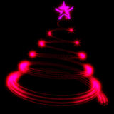 Christmas tree. Abstract Modern Green Glowing Christmas Tree isolated on black Royalty Free Stock Photography
