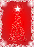 Christmas tree. In red and white colors with snowflakes Stock Image