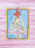 Christmas Tree. Illustration with Christmas tree, created with watercolors and ink. Lovely, delicate details and pink background. Suitable for greeting cards Stock Photos