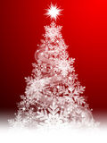 Christmas tree. Made of Snowflake.Red color Royalty Free Stock Photos