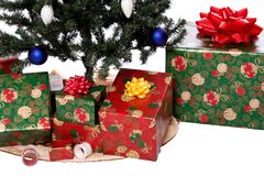 Christmas tree 2. A christmas tree with wrapped presents around the base Stock Image
