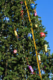 Christmas tree 2. Christmas tree with toys on a background of the blue sky Stock Photography