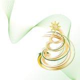 Christmas tree 2. Shiny Gold Christmas Contemporary Tree vector illustration Royalty Free Stock Photo