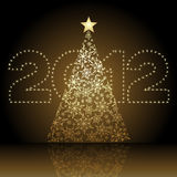 Christmas tree 2012. Christmas / new year 2012 shiny starry numbers and symbolic Christmas tree Stock Illustration