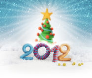 Christmas tree 2012. Illustrated christmas tree with sonwy background and colorful 2012 in the foreground Royalty Free Stock Photos