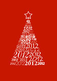 Christmas tree with 2012 texts. Christmas tree with many 2012 logo in red background Royalty Free Stock Image