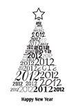 Christmas tree with 2012 texts. Christmas tree with many 2012 logo Stock Illustration